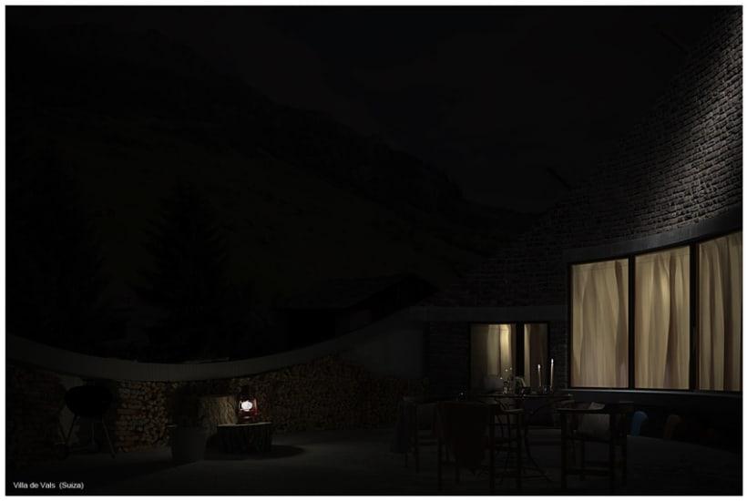 Villa de Vals exterior noche 3D 1