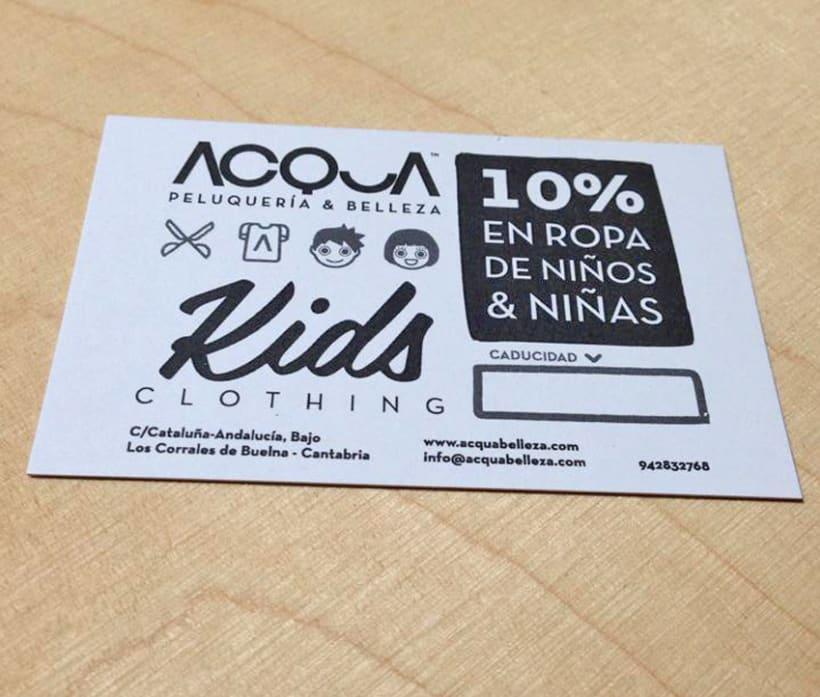 Tarjeta de descuento en ropa de niños para ACQUA | Peluquería & Belleza 3