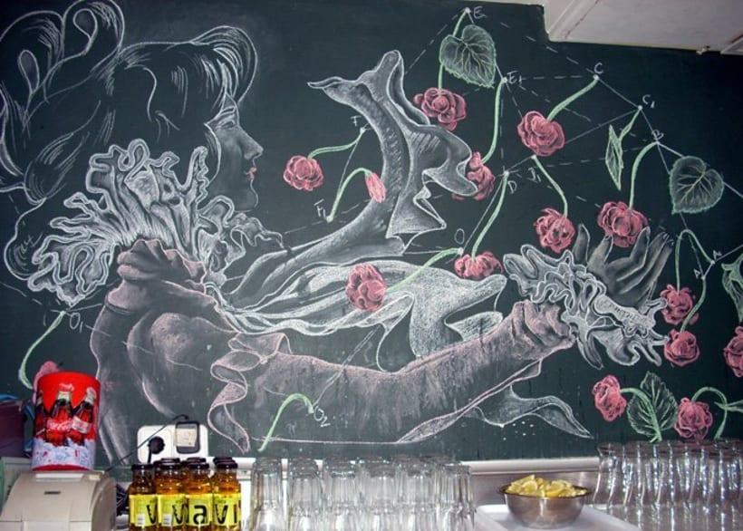 Dibujos a tiza en el Bar Docamar 10