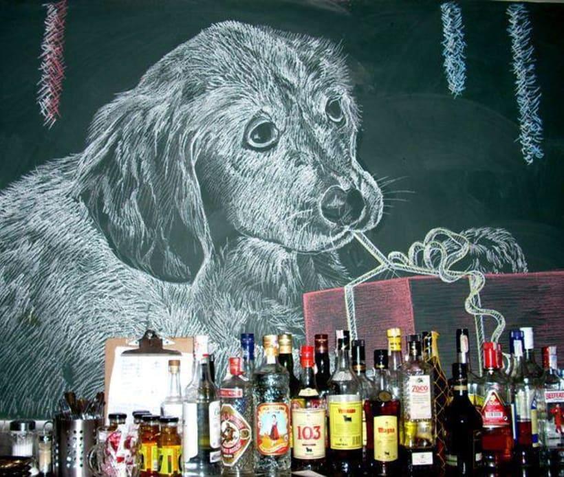 Dibujos a tiza en el Bar Docamar 6