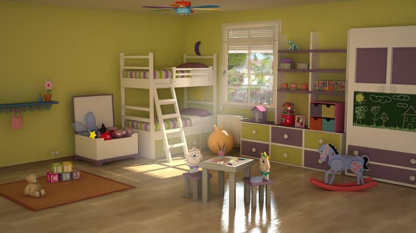 habitacion infantil 3d domestika