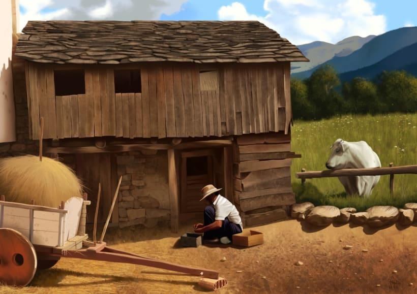 Campesino - Pintura digital realizada con los dedos en el Ipad -1