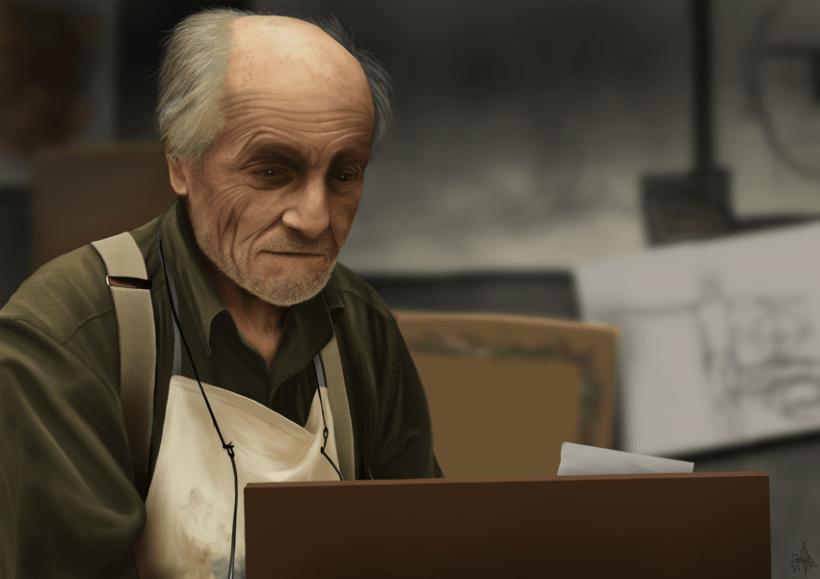 El viejo Maestro - Pintura digital realizada con los dedos en el Ipad -1
