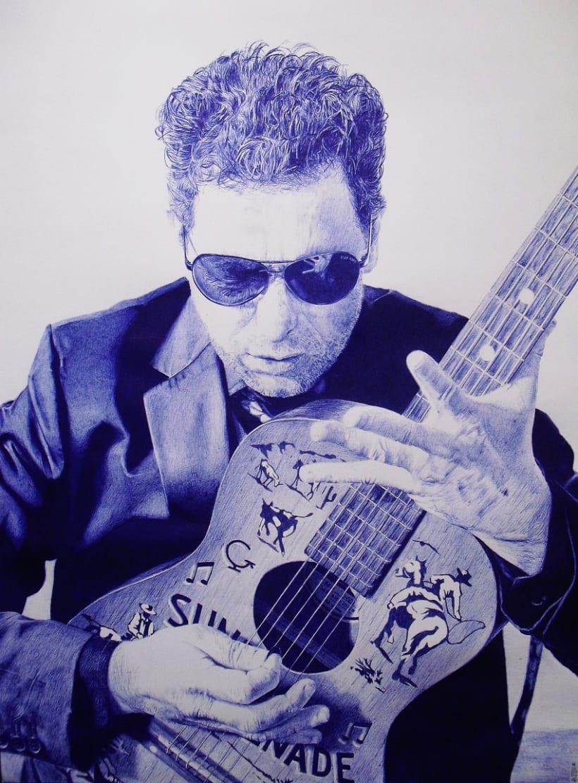 Andrés Calamaro realizado con bolígrafo BIC 0
