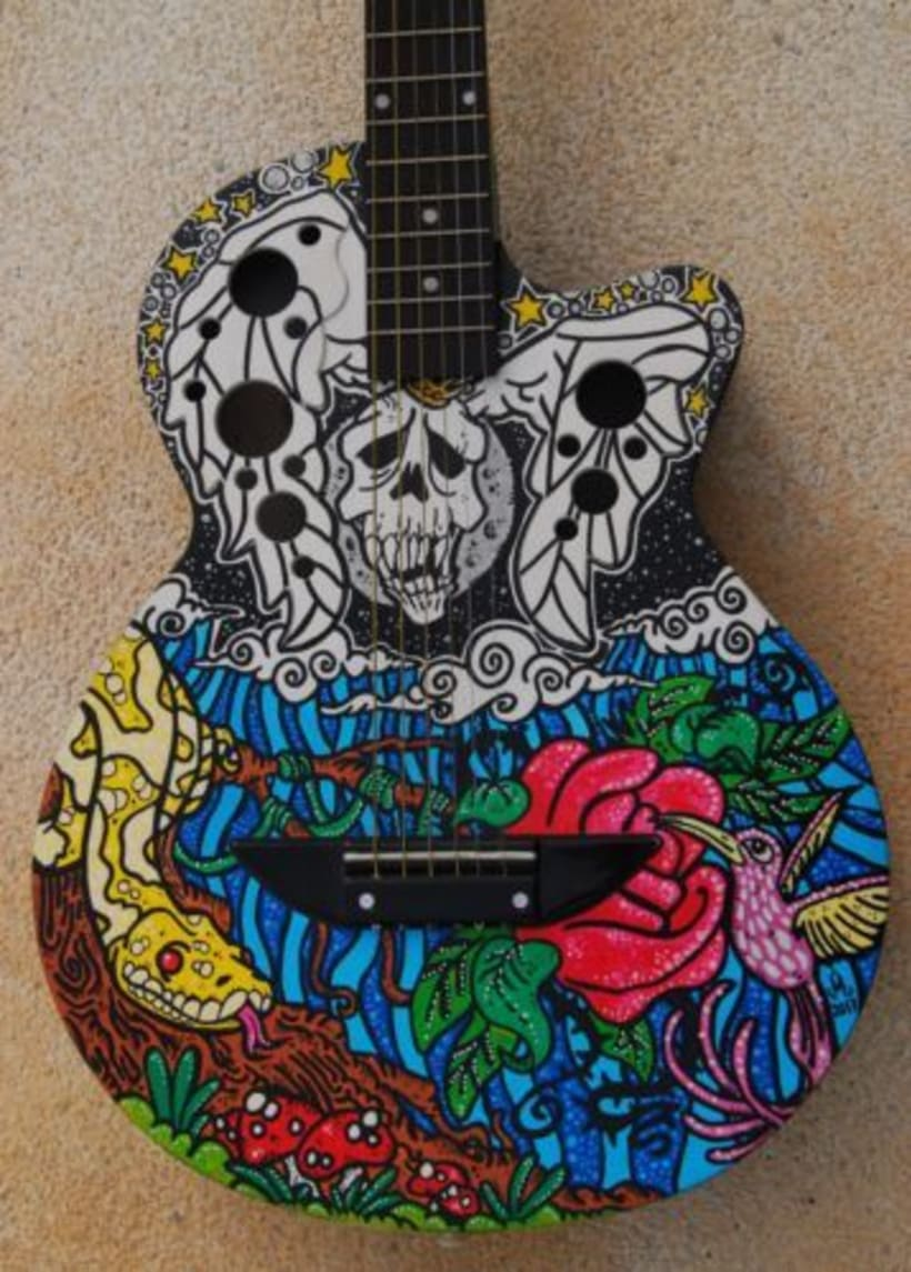 Acoustic Guitar Custom (hand painted) POSCA coloured. 1
