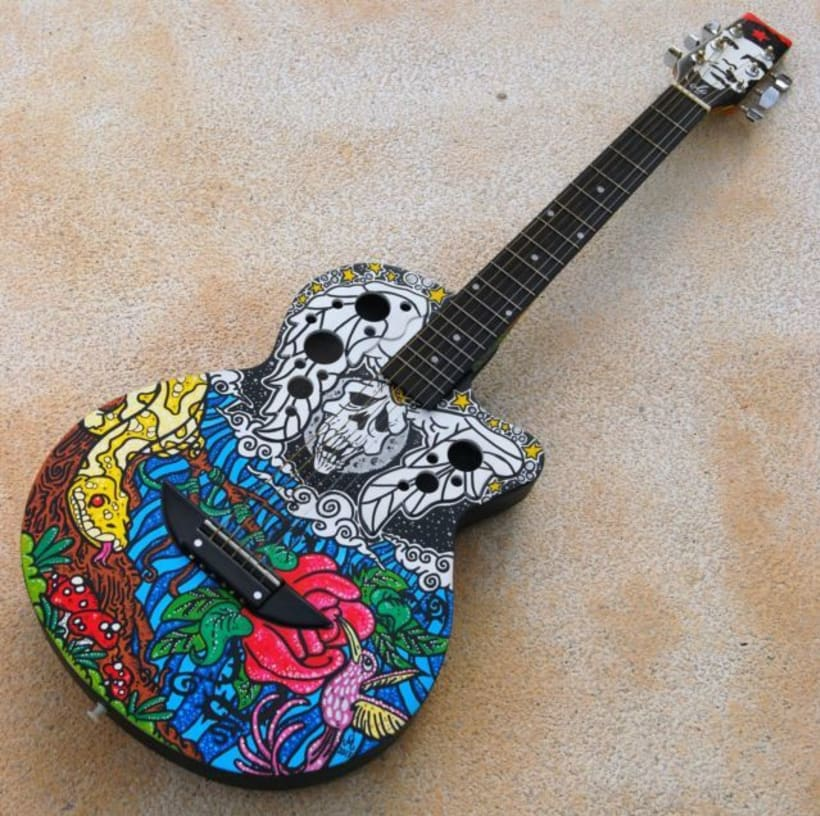 Acoustic Guitar Custom (hand painted) POSCA coloured. 0