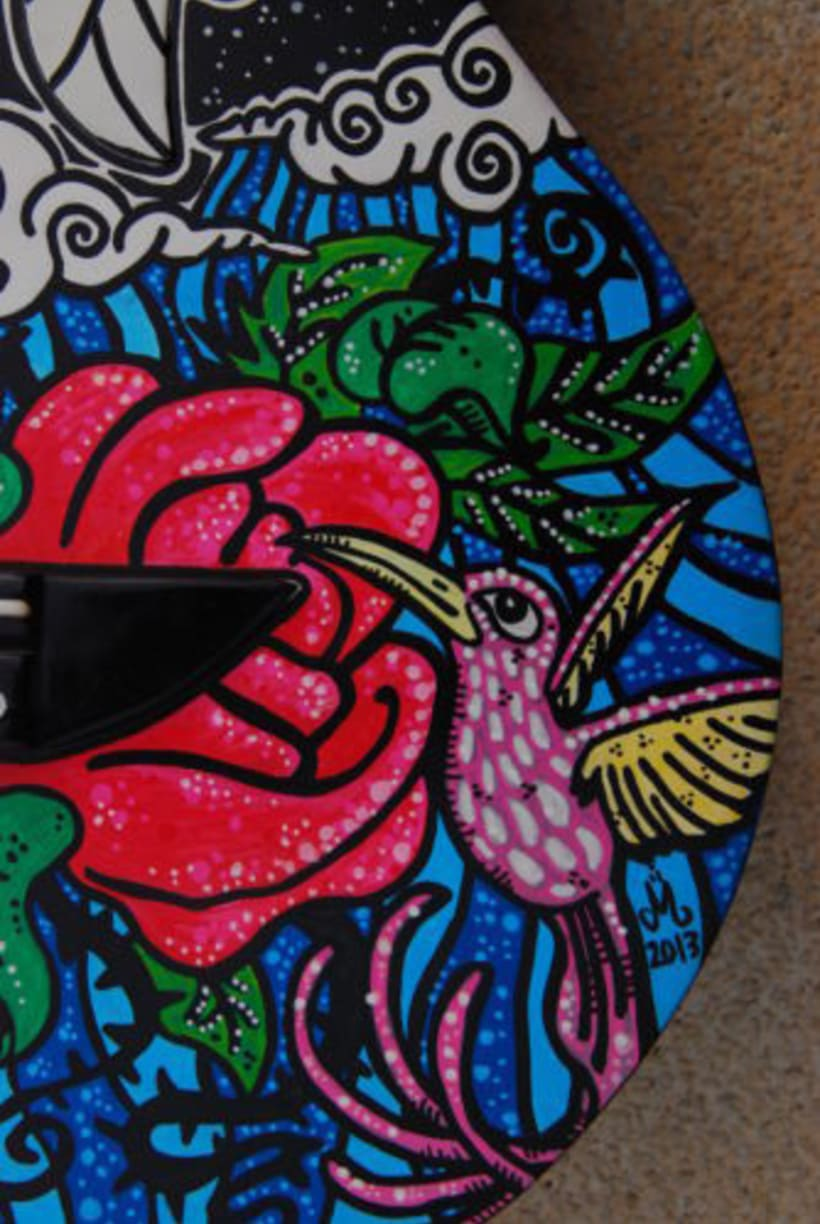 Acoustic Guitar Custom (hand painted) POSCA coloured. 3