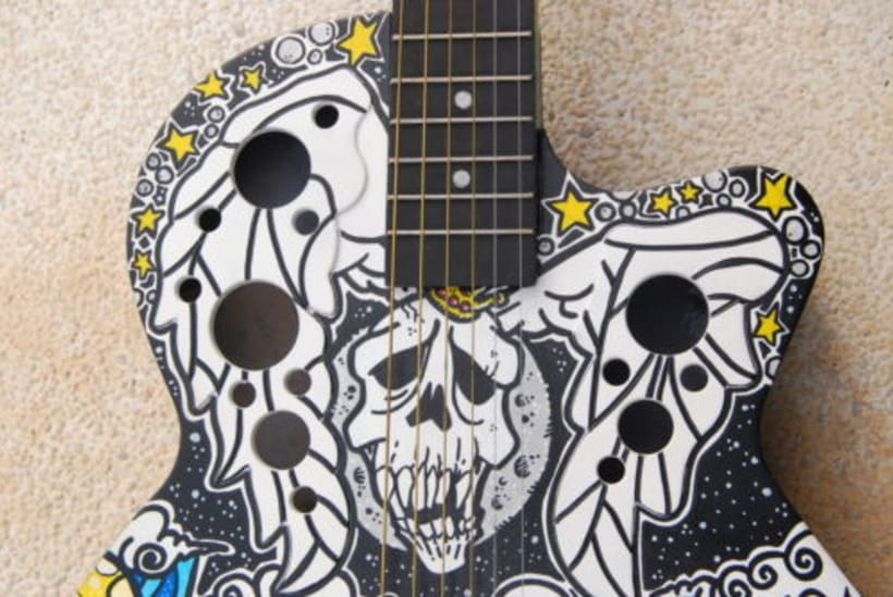 Acoustic Guitar Custom (hand painted) POSCA coloured. 4
