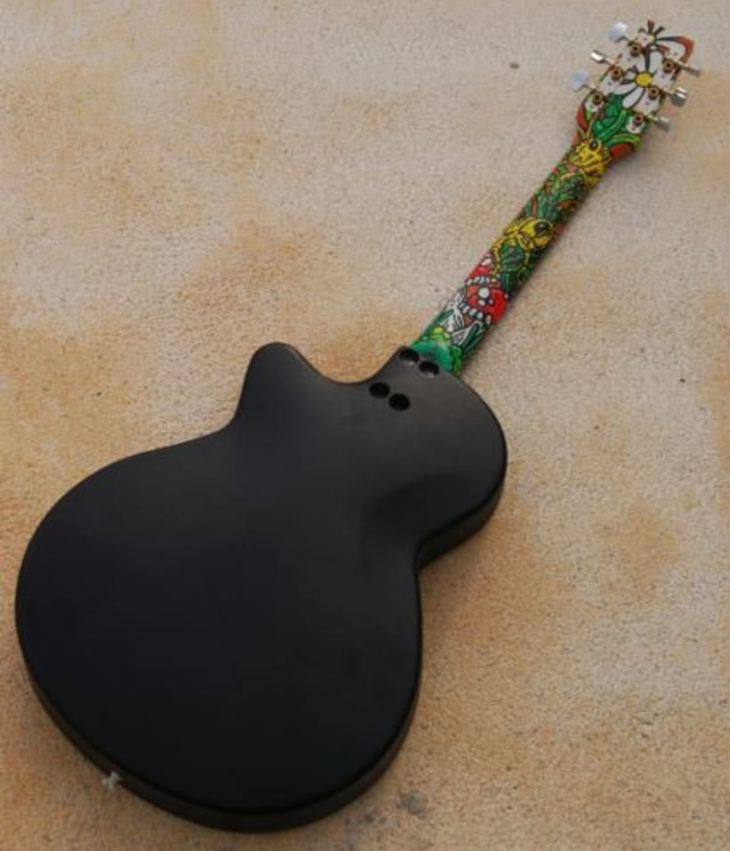 Acoustic Guitar Custom (hand painted) POSCA coloured. 9