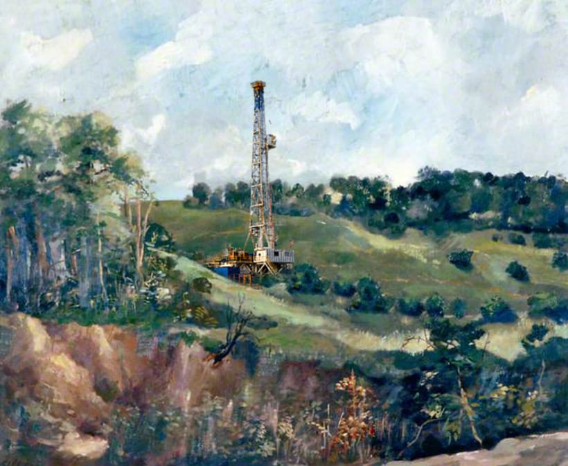 Fracking Sussex. Photoshop Oil Painting. 0