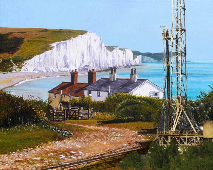 Fracking Sussex. Photoshop Oil Painting. 1