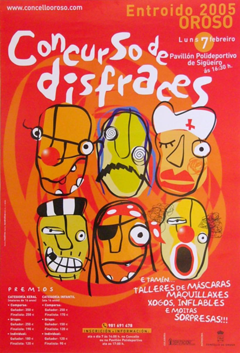 "Imagen gráfica para el ""Concurso de disfraces. Entroido Concello de Oroso"". Santiago de Compostela, 2004. Para 3C3 Editores. 0"