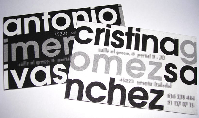 Tarjetas personales Antonio y Cristina 0