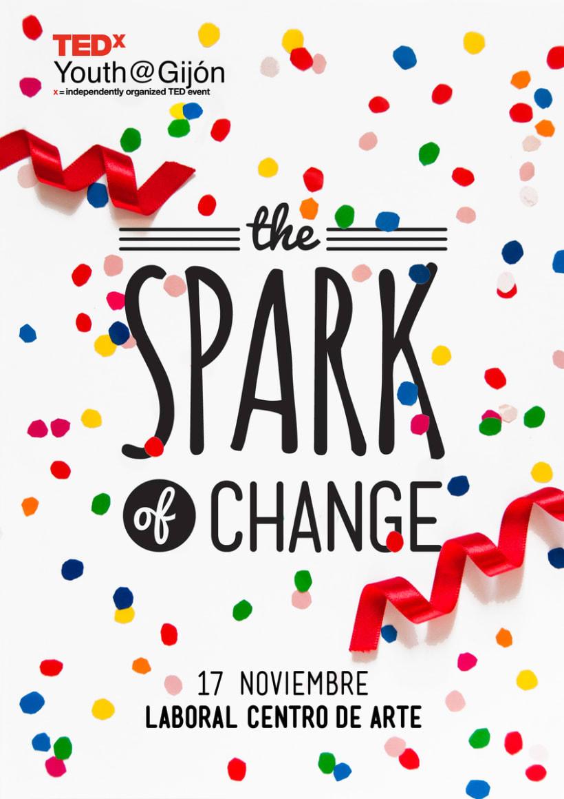 The Spark of Change. Diseño corporativo para el TEDxYouth Gijón 0