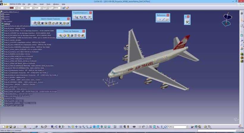 """Diseño """"Proyecto Avión M380"""" Catia v5 - módulo Part Design (sólidos)  3"""