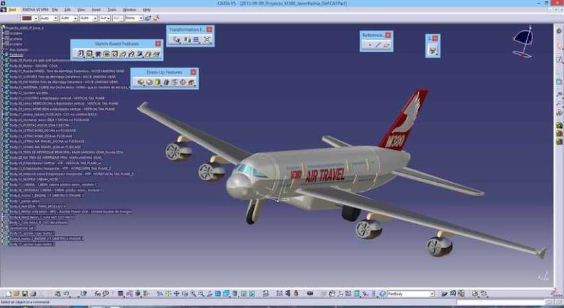 """Diseño """"Proyecto Avión M380"""" Catia v5 - módulo Part Design (sólidos)  4"""