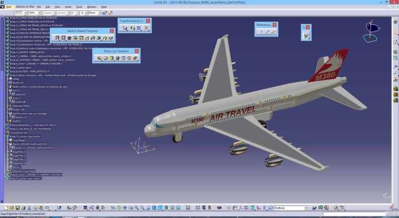 """Diseño """"Proyecto Avión M380"""" Catia v5 - módulo Part Design (sólidos)  5"""
