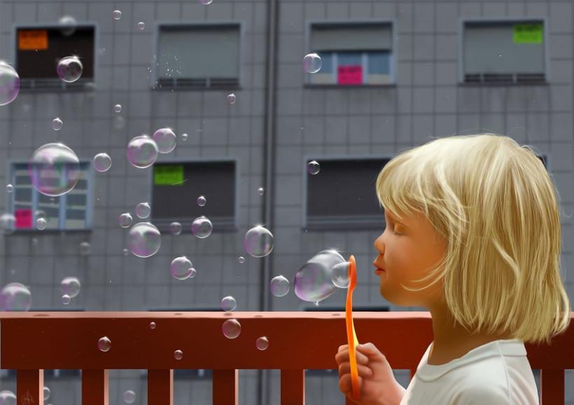 La burbuja - Pintura digital realizada con los dedos en el Ipad -1