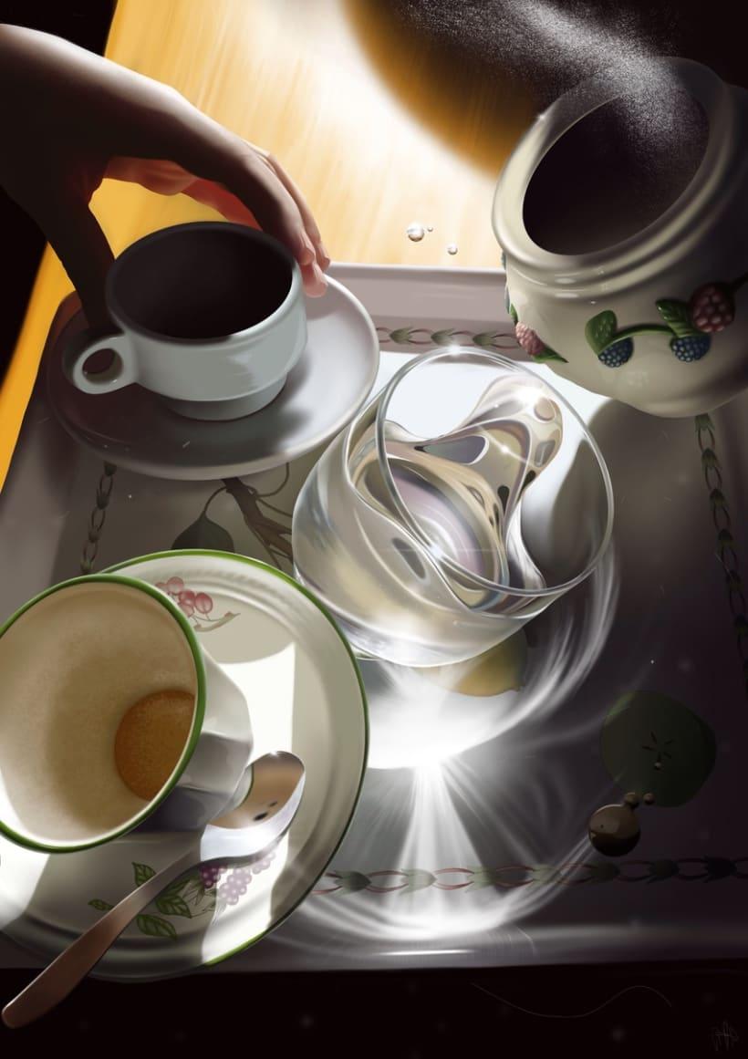 Café desgravedado - Pintura digital realizada con los dedos en el Ipad -1