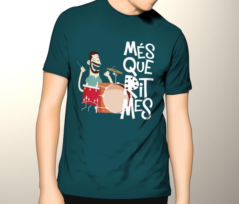 """Cartel y camisetas: Festival de percusión """"MésQueRitmes"""" 4"""