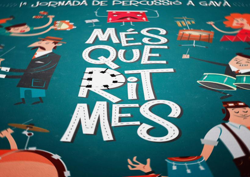 """Cartel y camisetas: Festival de percusión """"MésQueRitmes"""" 1"""