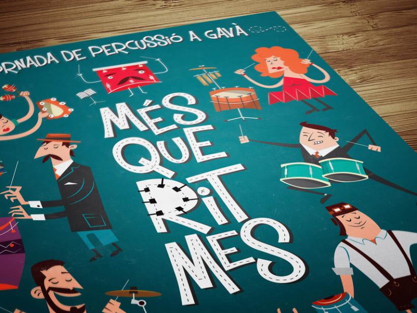 """Cartel y camisetas: Festival de percusión """"MésQueRitmes"""" 2"""