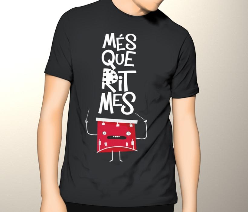 """Cartel y camisetas: Festival de percusión """"MésQueRitmes"""" 6"""