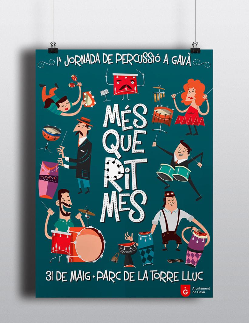 """Cartel y camisetas: Festival de percusión """"MésQueRitmes"""" 0"""