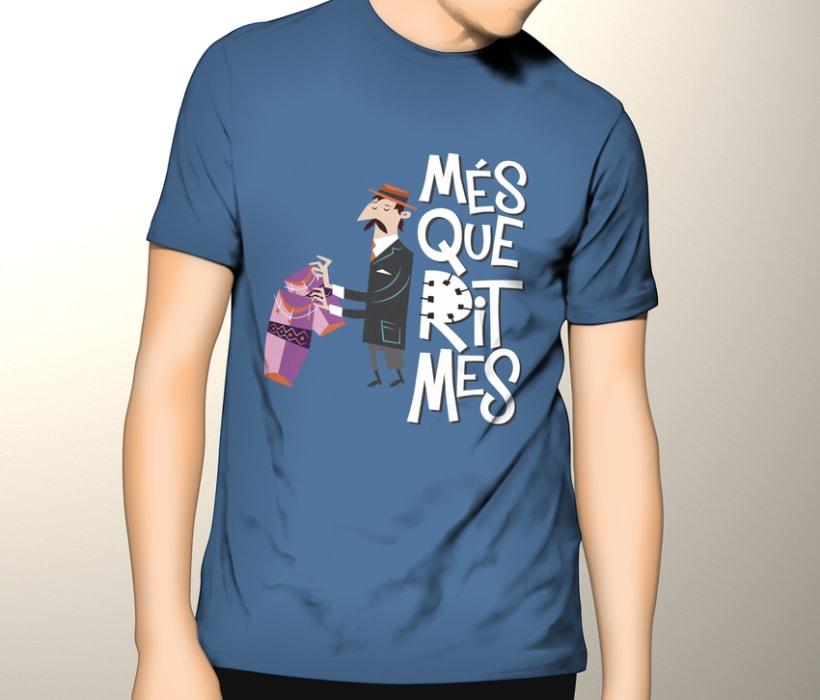 """Cartel y camisetas: Festival de percusión """"MésQueRitmes"""" 5"""
