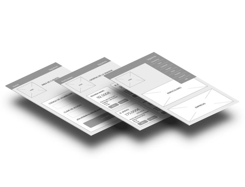 Wireframes para portal inmobiliario móvil E-commerce 1