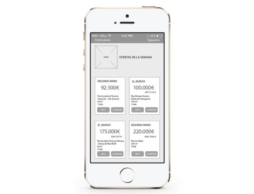 Wireframes para portal inmobiliario móvil E-commerce 9