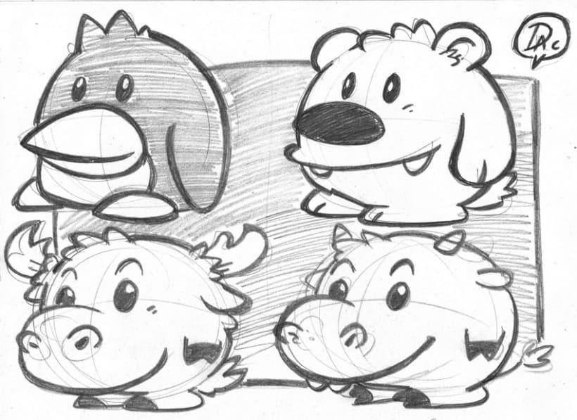Bocetos dibujos de caracter  infantil de animales  1