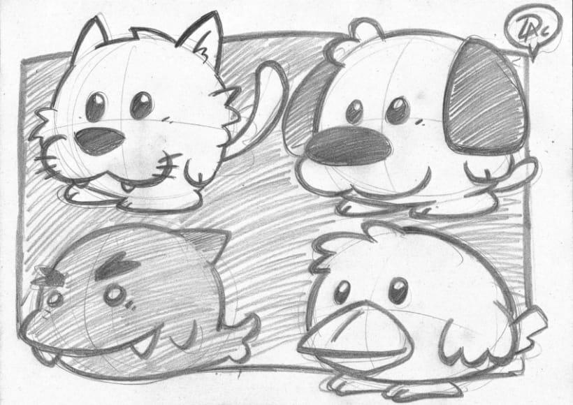 Bocetos dibujos de caracter  infantil de animales  2