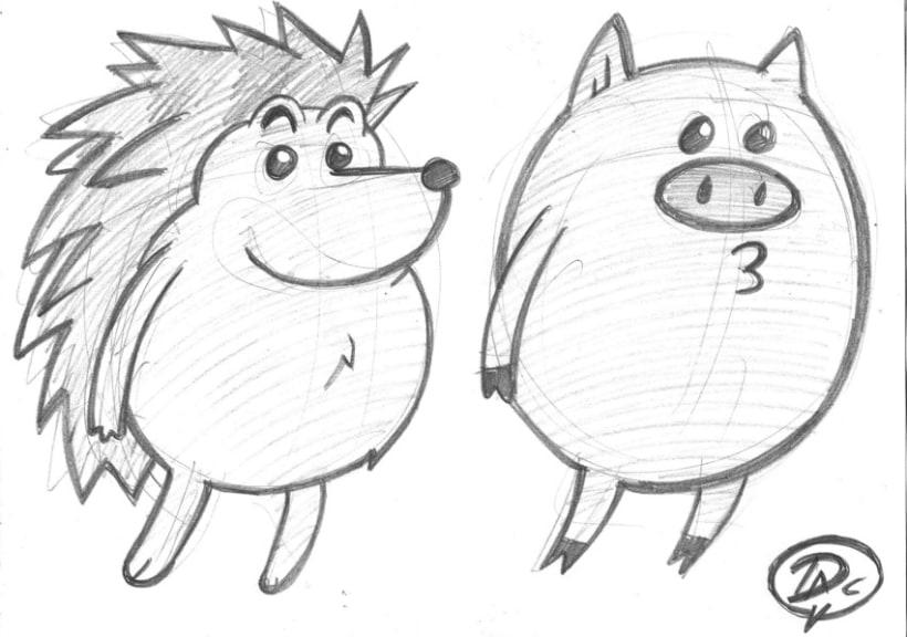 Bocetos dibujos de caracter  infantil de animales  4