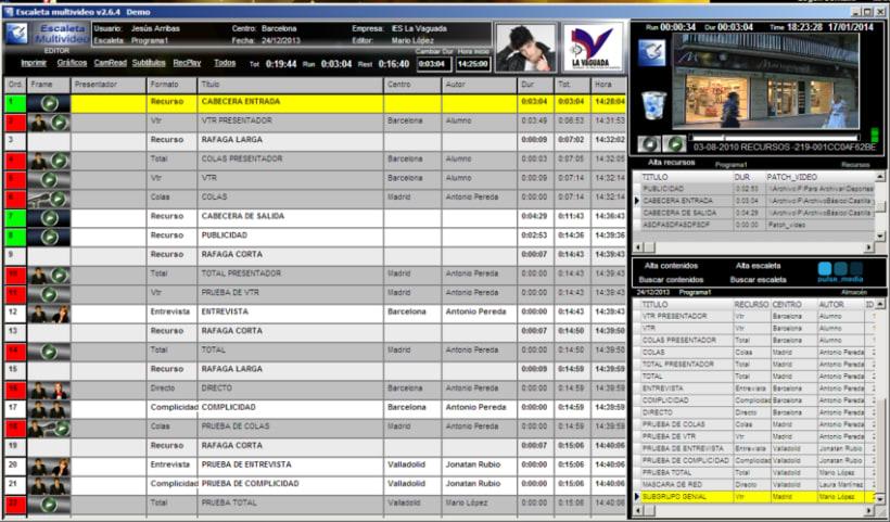 Escaleta_mv aplicación para la gestión de la producción audivisual. Conexión con playout , prompter graficos etc... 2