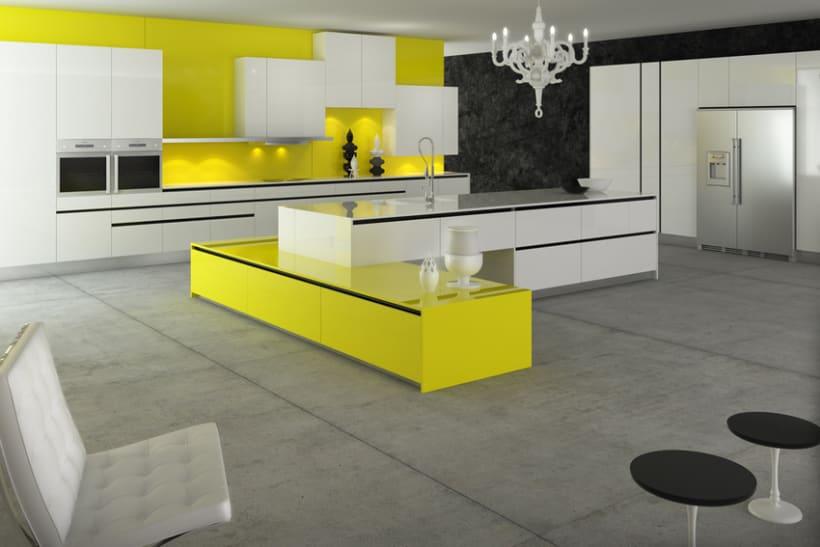 Cocina 3d domestika - Cocinas amarillas ...