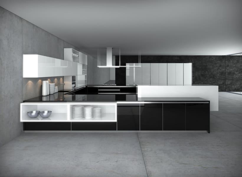 cocina 3d negra domestika