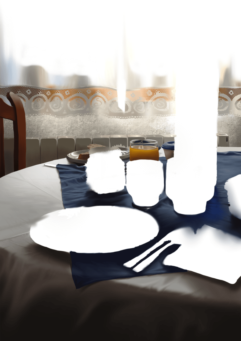Luz de desayuno - Pintura digital realizada con los dedos en el Ipad 5