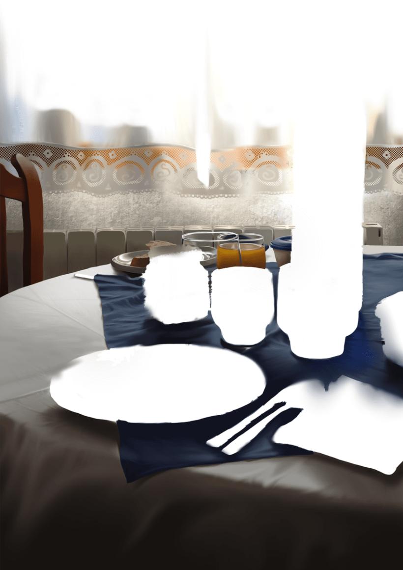 Luz de desayuno - Pintura digital realizada con los dedos en el Ipad 6