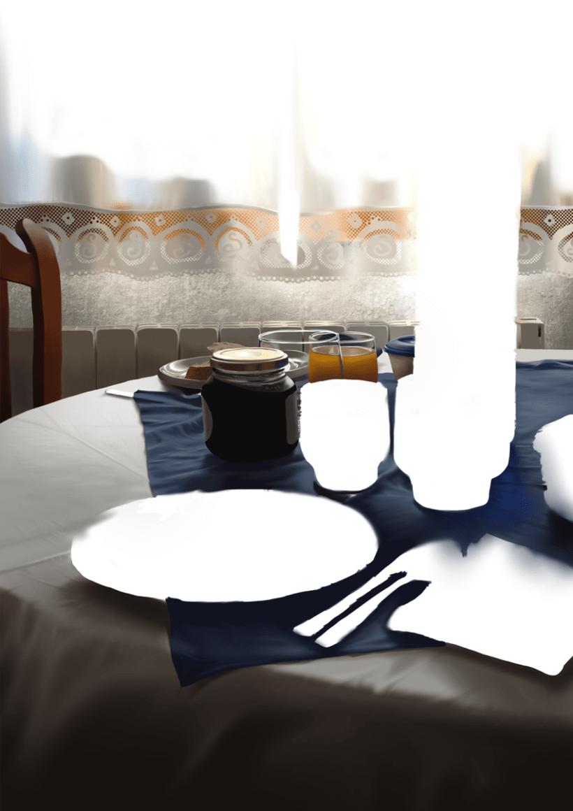 Luz de desayuno - Pintura digital realizada con los dedos en el Ipad 7