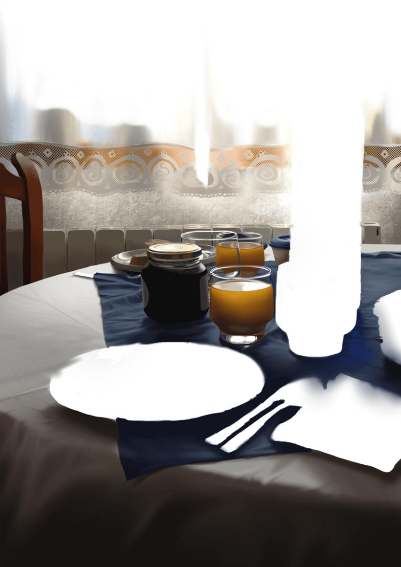 Luz de desayuno - Pintura digital realizada con los dedos en el Ipad 8