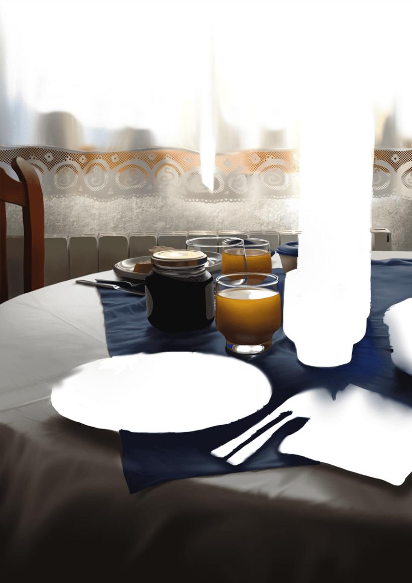 Luz de desayuno - Pintura digital realizada con los dedos en el Ipad 9