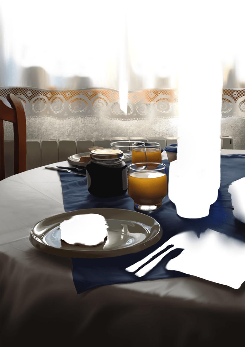 Luz de desayuno - Pintura digital realizada con los dedos en el Ipad 10