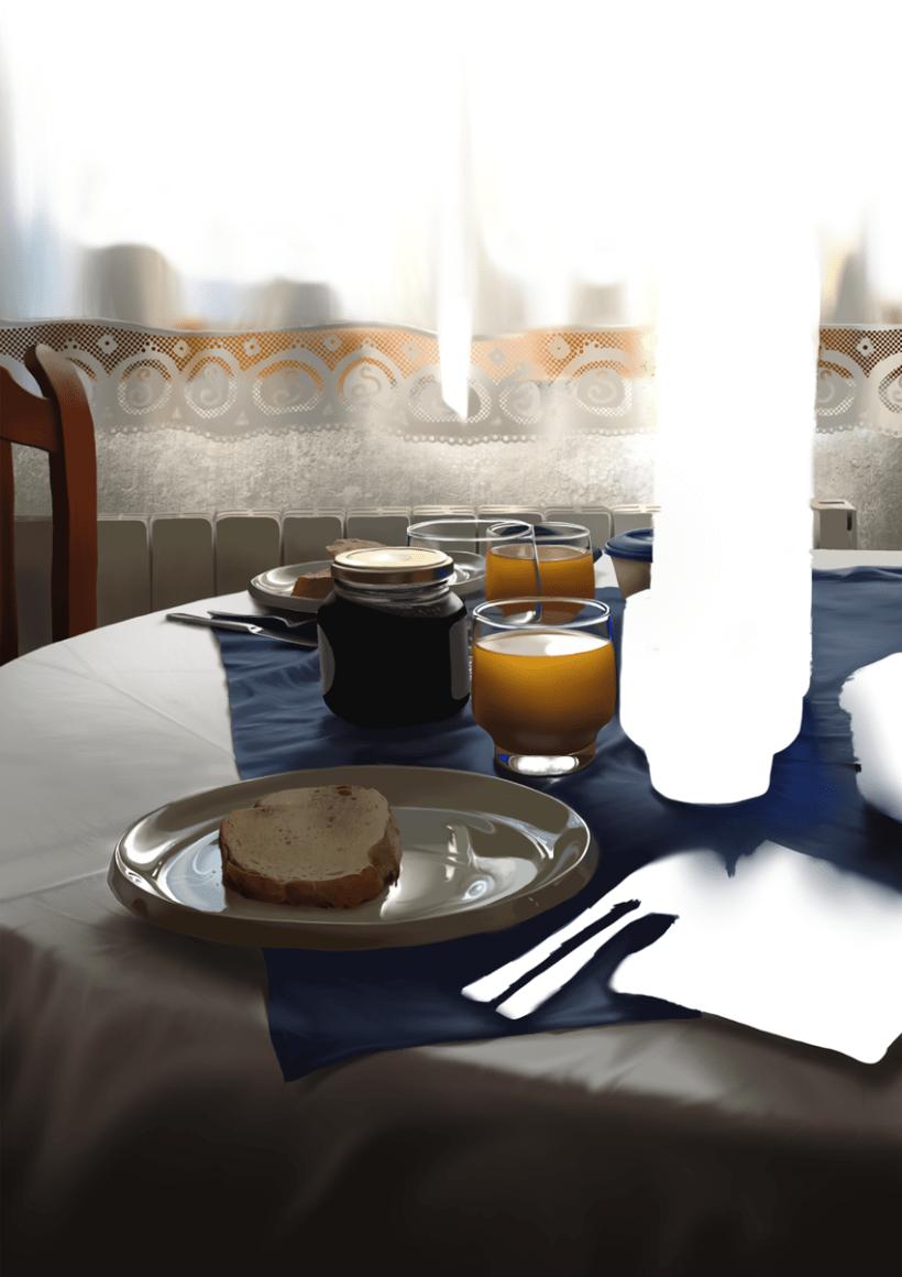 Luz de desayuno - Pintura digital realizada con los dedos en el Ipad 11