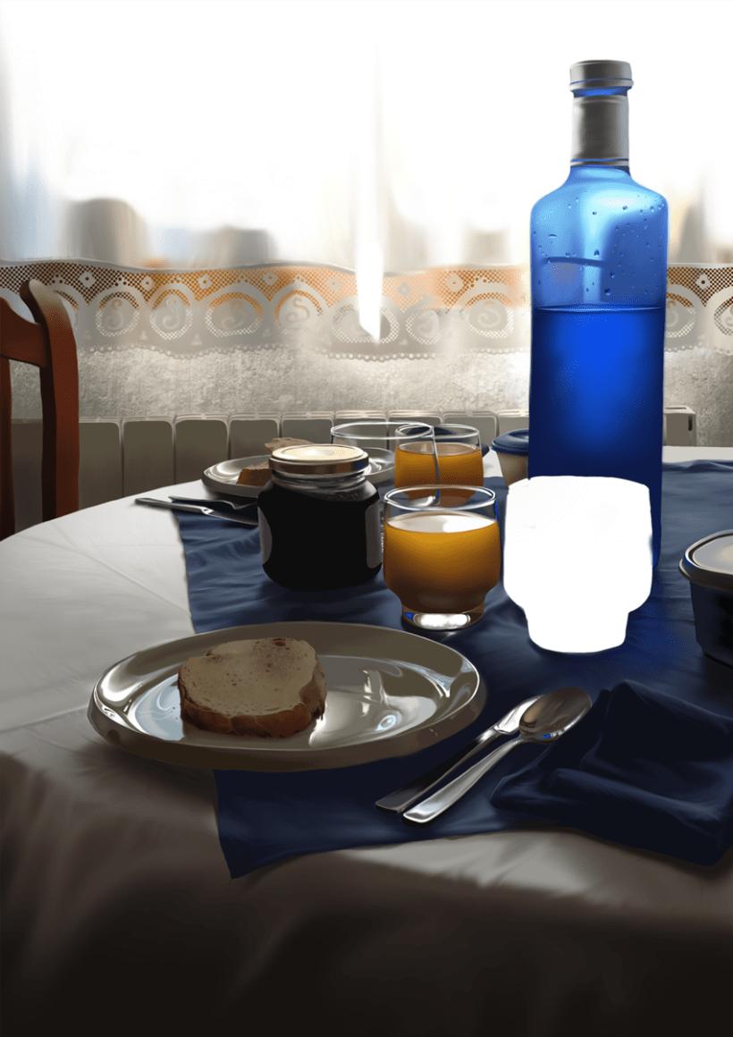 Luz de desayuno - Pintura digital realizada con los dedos en el Ipad 14