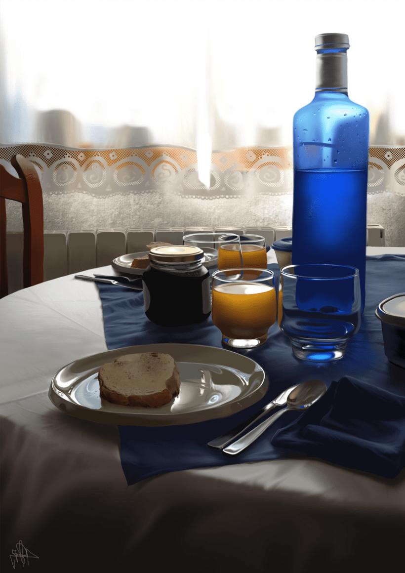 Luz de desayuno - Pintura digital realizada con los dedos en el Ipad 15