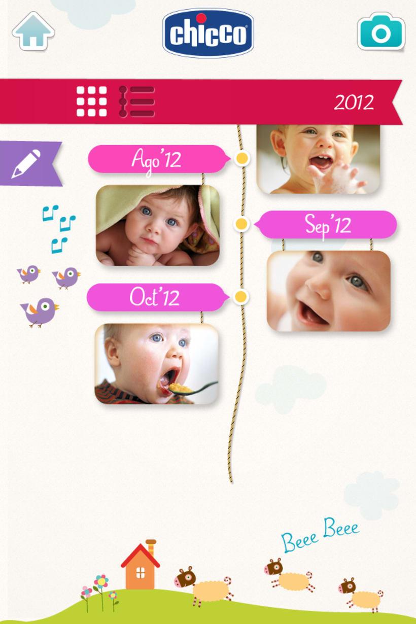 Chicco Baby Book es una app para ordenar y visualizar las fotos de tu bebé de una forma bonita y divertida. 3