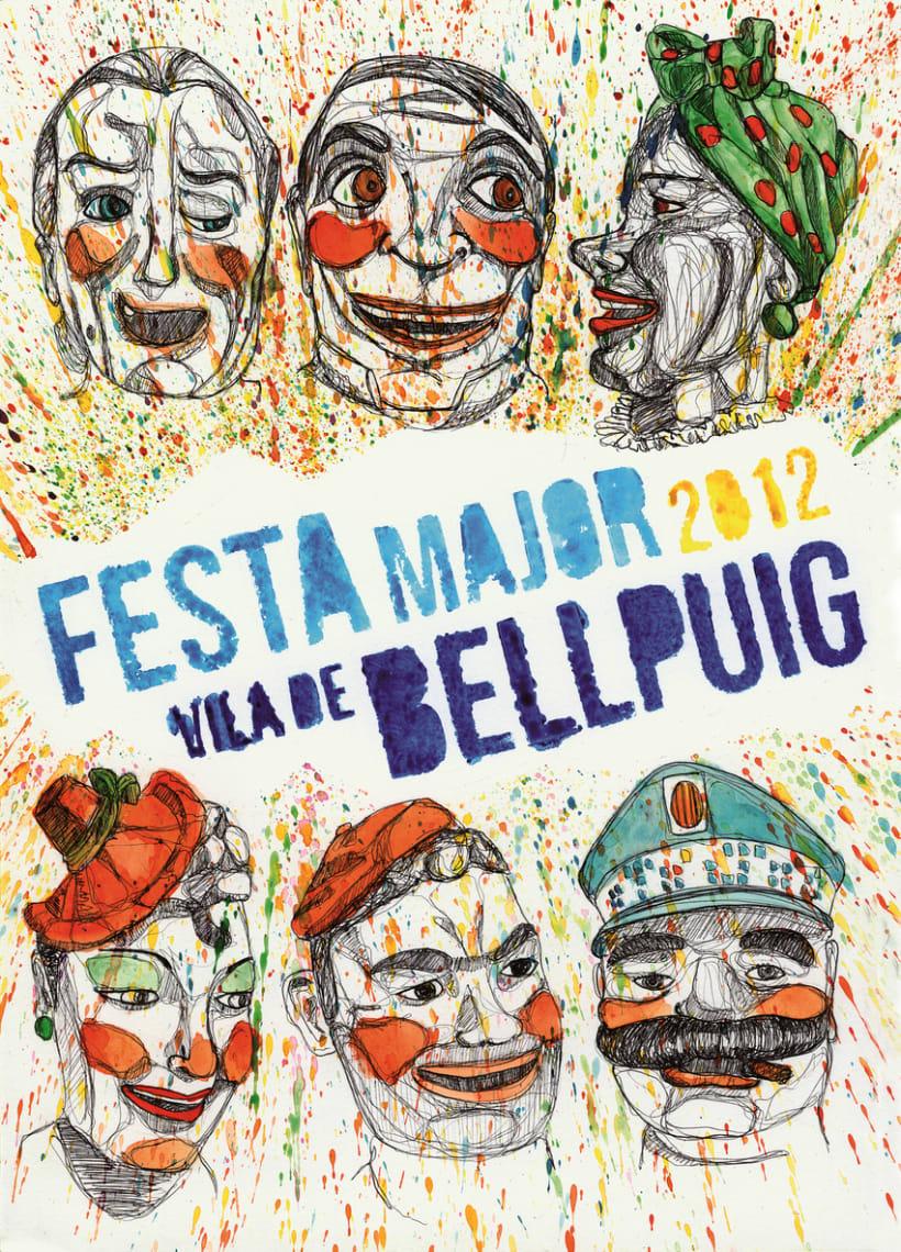 """Primer premio del concurso de carteles de la """"Festa Major Bellpuig, 2012""""  0"""