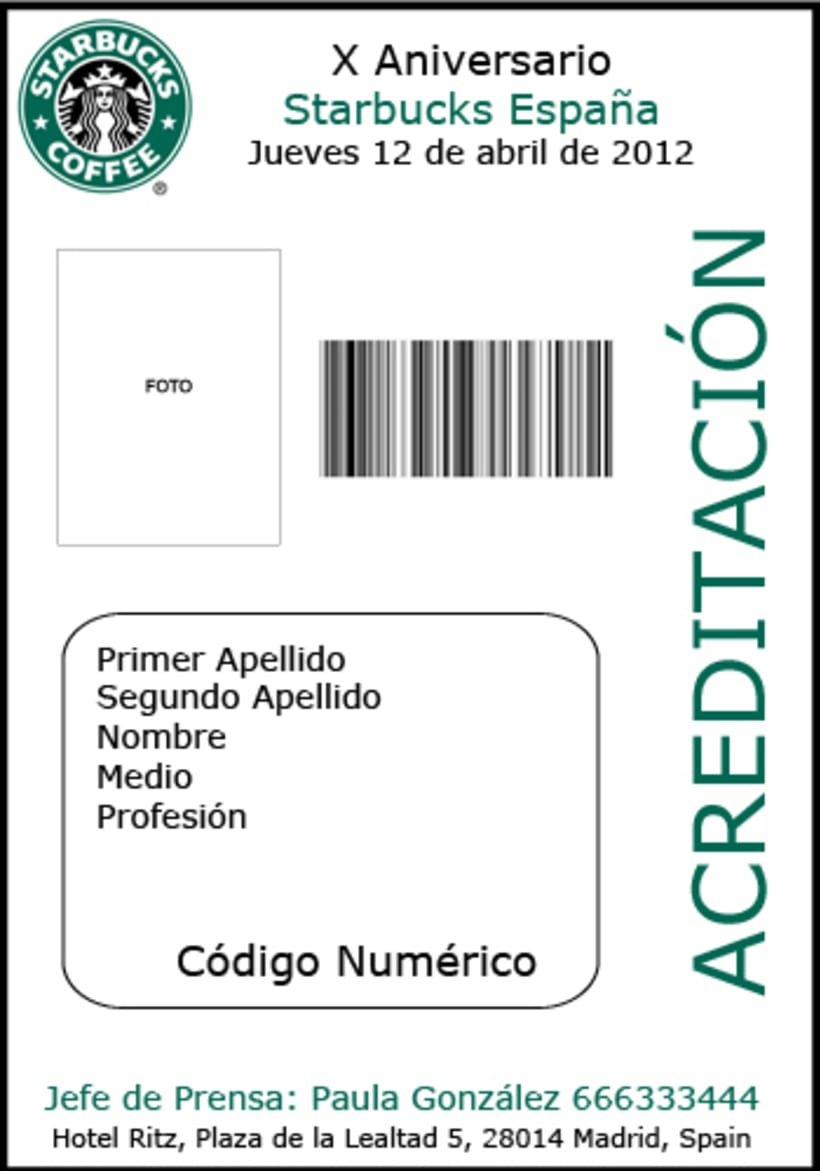 Acreditaciones Ficticias Aniversario Starbucks Spain 0