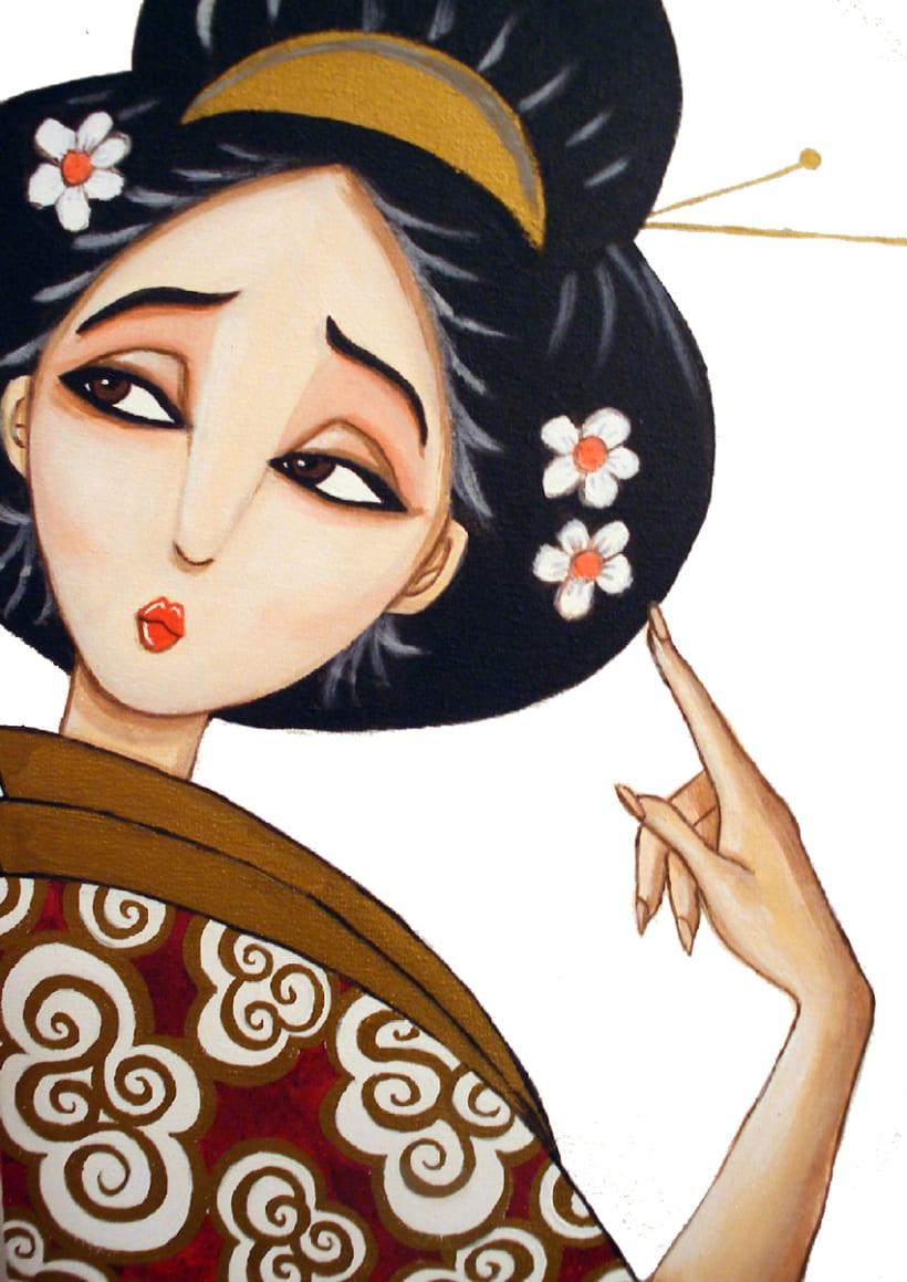 Geishas pintura 0